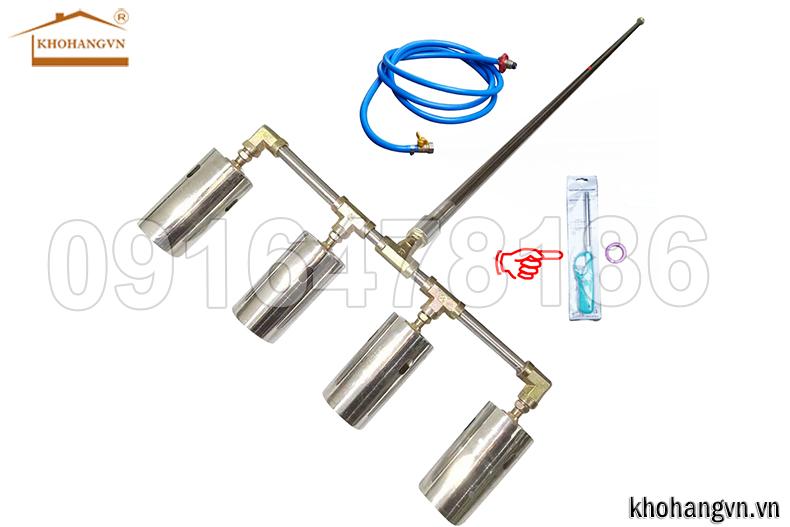 Đèn khò gas công nghiệp|Đuốc khò gas công nghiệp dùng xăng cán dài, loại 5 đầu 3A